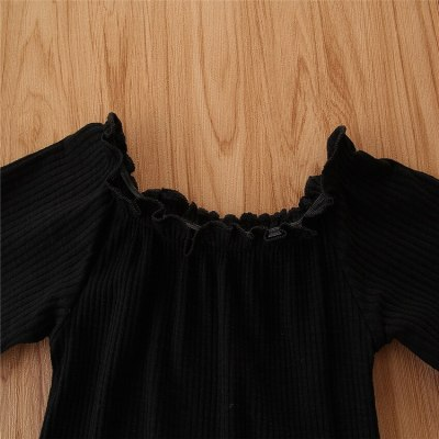 Kids Clothes Girls New Girl Suit Black Short-Sleeved Top + Snakeskin Pattern A-line Skirt Fashionable Two-piece Girl Suit