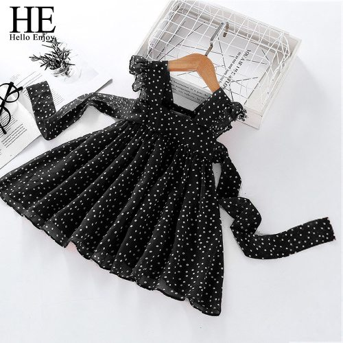 2021 New Summer Kids Fashion Chiffon Dot Evening Dress Girl Party Gown Vestidos Baby Children Suit