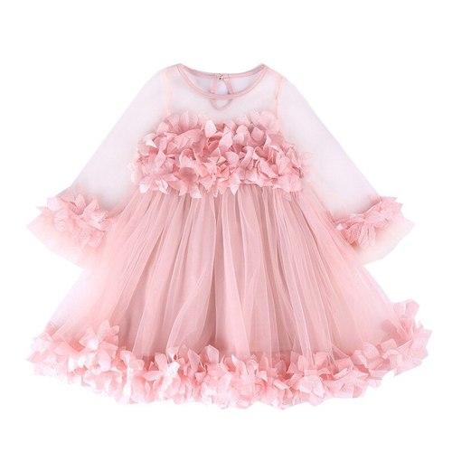 Girls Dress Cute Pink Ball Gown Dress Long Sleeve Tulle Petal Dress for Girls Party Princess Dress for Baby Girls Summer Clothes