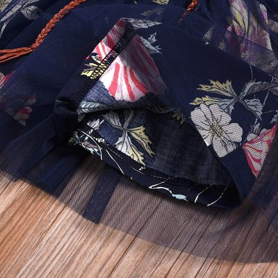 Girls Dress Summer New Denim Stitching Floral Mesh Gown Dress Baby Girl Tulle Princess Dress