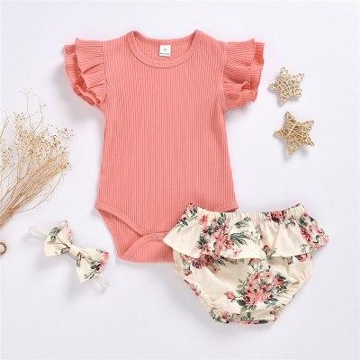 Summer Clothing Infant Newborn Baby Girl Ruffled Ribbed Bodysuit Floral Shorts Headband 3Pcs Set