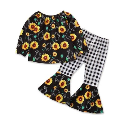 Girls Suits Kids Sets Cotton Long Sleeve Flower Tops Blouses Flared Trousers 2Pcs Baby Outfits  Toddler Clothes