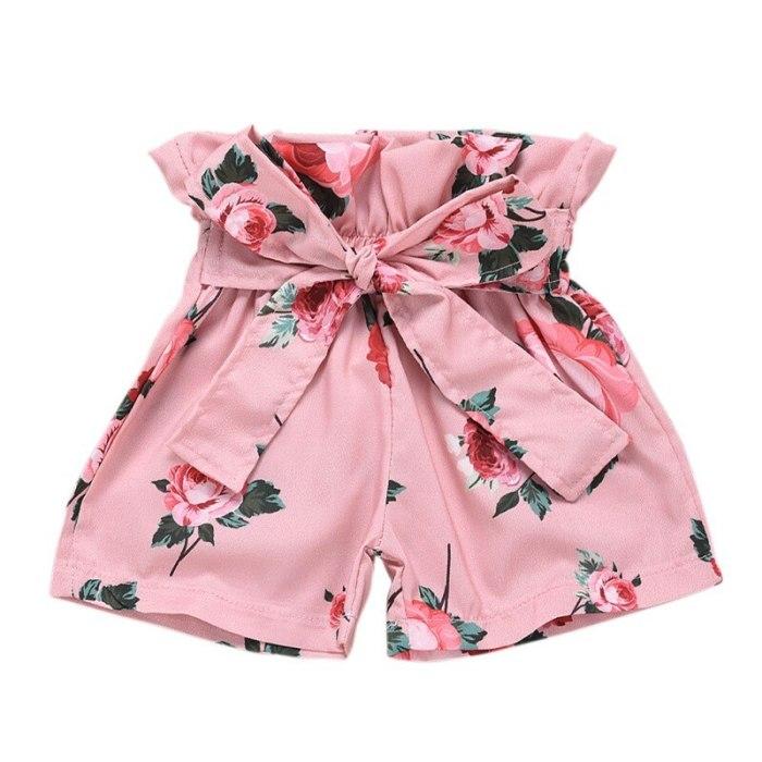 2 Pcs/set Summer Children Girls Cute Clothes Set Sleeveless Tassel Vest +Floral Shorts Suits Costume Set
