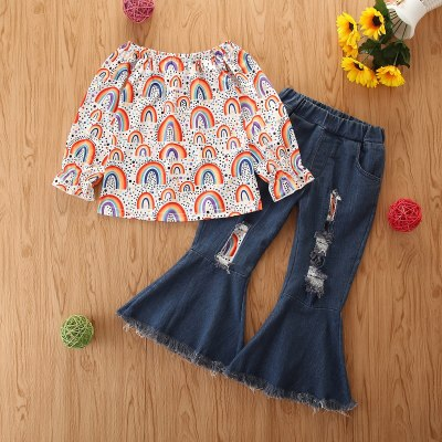 Children Kids Baby Girls Rainbow Long Sleeve T-shirts Tops + Denim Pants Casual Clothes Outfits