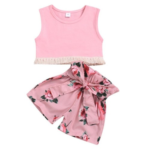 2 Pcs/set Summer Children Girls Cute Clothes Set Sleeveless Tassel Vest +Floral Shorts Suits Costume Set
