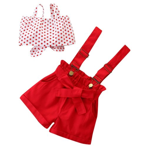 Fashion Toddler Kids Baby Girls Clothes Sleeveless Dot Printed Bow-Tie Vest + Solid Color Suspender Pants Summer Outfits Set