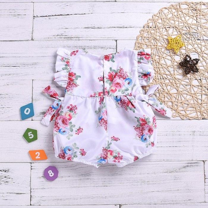 Summer Newborn Baby Girls Clothes Tops Flower Jumpsuit Bodysuit Short Sleeve Baby Girl