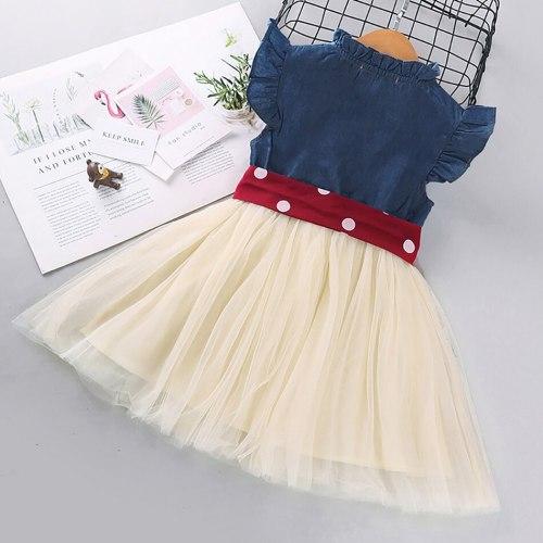 Toddler Kids Clothes Baby Girls Denim Jacket Short Sleeve Tops Polka Dot Slip Layered Dress Set
