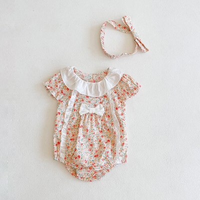 Summer Flowers Baby newborn Girls Ruffles Rompers Infant  children Jumpsuit Playsuit+hair band Bow Baby Clothes