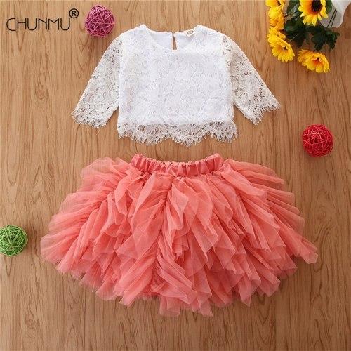 Baby Girls Summer Clothing Set Baby Girl Lace Top + Irregular Mesh Cake Tutu Skirt 2 pcs Toddler Casual Outfits Set