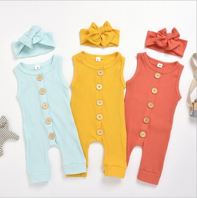 2021 Summer Solid Rompers Newborn Infant Baby Girl Boy Outfit Kids Cotton Romper Jumpsuit Children Casual Clothes Set