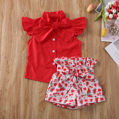 Baby Girls Outfits Toddler Kids Watermelon Lace Clothes T-shirt Top and Shorts 2021
