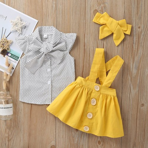 Infant Baby Girls Dress Sleeveless Dot Print Tops T Shirt Strap Skirt Outfits Set Summer Dress