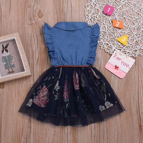 Girls Dress Summer New Denim Stitching Floral Mesh Gown Dress Baby Girl Tulle Princess Dress