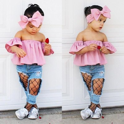 2021 New Fashion Toddler Kids Girl Clothes Summer Off shoulder Pink T-shirt Tops+Hole Net Jean Denim Pant Headband 3PCS Outfits