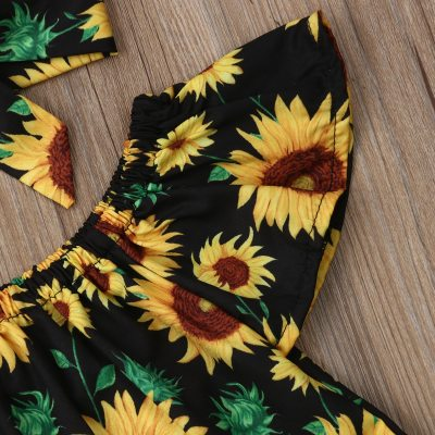 Toddler Baby Girl Clothes Off Shoulder Sunflower Print Tops Ripped Denim Pants Headband 3Pcs Outfits Summer Clothes