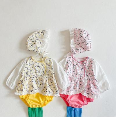 2021  New  Babys  Girls Printed  With  Hat Rompers Cotton Full sleeve  Spring  Babys Jumpsuit