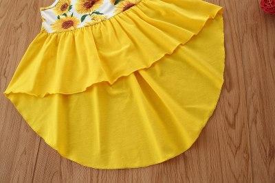 Toddler Baby Girls Sunflower Print Clothes Set Sleeveless Irregular Hem Sling Tops Elastic Waist Ripped Denim Shorts Summer