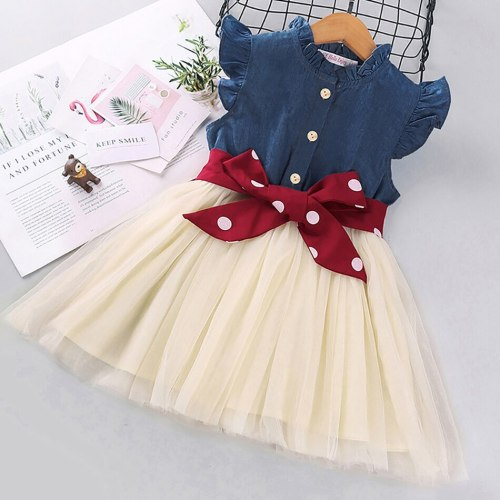 Toddler Kids Clothes Baby Girls Denim Jacket Short Sleeve Tops Polka Dot Slip Layered Dress Set