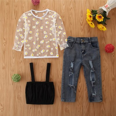 2021 Newborn Toddler Kids Baby girls fashion clothes Daisy Mesh Tops +  jeans 3pcs set Outfits for Children clothing