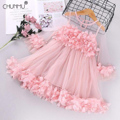 Toddler Girls Dress 3D Floral Princess Dress Elegant Lace Tutu Kids Wedding Party Dresses Children Clothing For Baby Girls