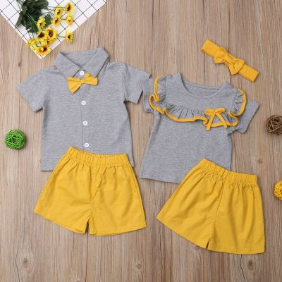 2021 New Summer 2-piece Baby Toddler  Casual Solid Top and Shorts Set Girl and Boy Suits Short-Sleeve T-shirt Clothes