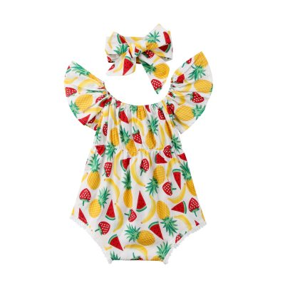 Summer Newborn Infant Baby Girl Flying Sleeves Fruit Jumpsuit Bodysuit Headband Clothes Outfit Yellow Summer Set