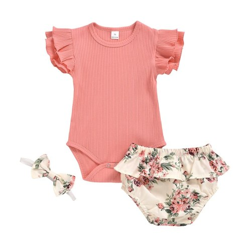 Summer Clothing Infant Newborn Baby Girl Ruffled Ribbed Bodysuit Floral Shorts Headband 3Pcs Set