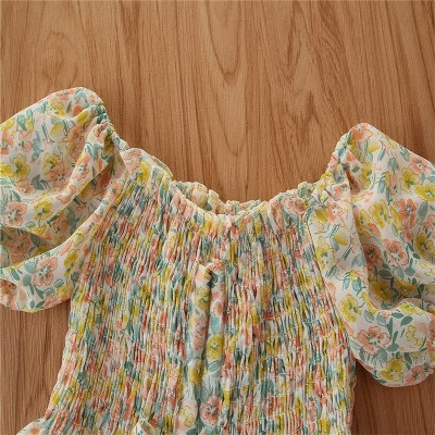 Toddler Baby Girl Summer Clothes Puff Sleeve Suit Floral Shirt + Wide Leg Pants 2 pcs Outfits Set Children Clothing