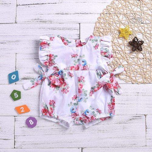 Summer Newborn Baby Girls Clothes Tops Flower Jumpsuit Bodysuit Short Sleeve Baby Girl