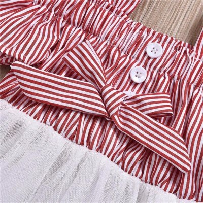Baby Girls Bow Lace Dress for Princess Ball-Gown Strapless sleeves Kids Striped Dresses for Children Summer Clothes