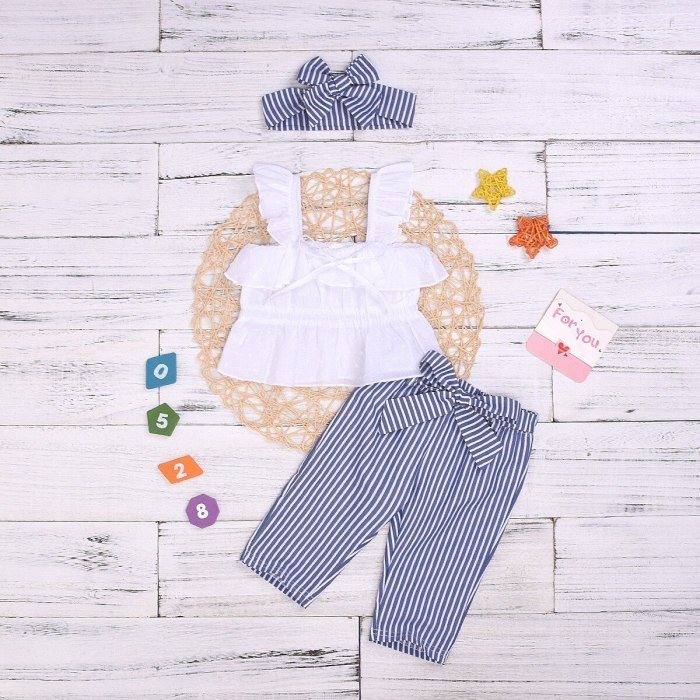 Stylish Solid Tank Top Striped Pants and Headband Set for Baby