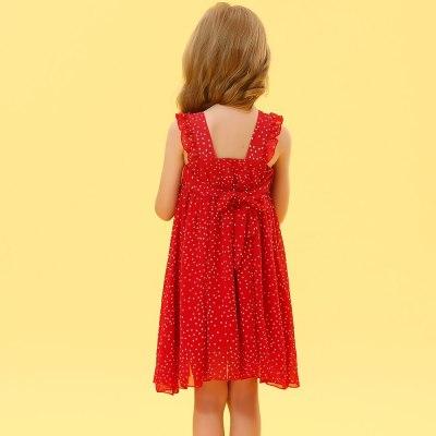 2021 New Summer Kids Fashion Chiffon Dot Evening Dress Girl Party Gown Vestidos Baby Children Suit