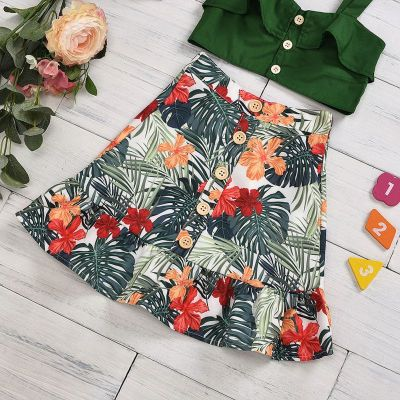 Summer Clothing Matching Infant Child Green Vest Crop Tops + Skirts 2Pcs Outfits Leaves Print Ruffled Set