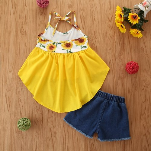 Toddler Baby Girls Sunflower Print Clothes Set Sleeveless Irregular Hem Sling Tops Elastic Waist Ripped Denim Shorts Summer