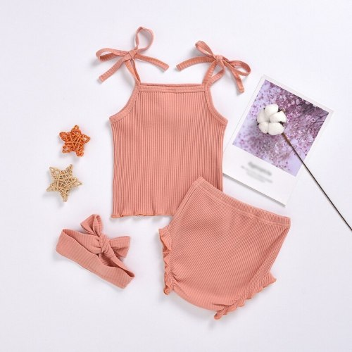 Newborn Infant Baby Girl Clothes Ruffled Vest Top Shorts Headband Girl Outfit Bloomer Set