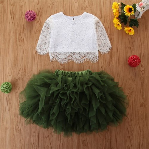 Baby Girls Summer Clothing Set Baby Girl Lace Top + Irregular Mesh Cake Tutu Skirt 2 pcs Toddler Casual Outfits Set