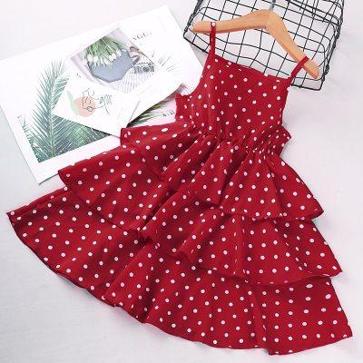2021 Summer Teenagers Dot Sling Elegant Female Children Cake Dress Girls Clothing