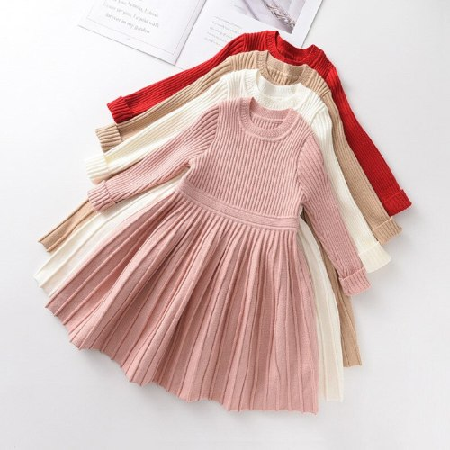 Autumn Winter Warm Knitted Sweater Dresses Kids Girl Clothes O-Neck Long Sleeve Baby Girl Dresses Christmas Little Girl Clothes
