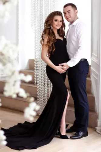 2021 Maternity Dress For Photo Shoot Pregnant Women Sexy Ruffles Clothes