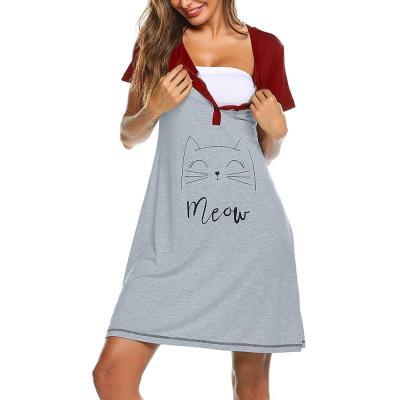 Pregnancy Pajamas Women Maternity Short Sleeve Cute Print Nursing Nightdress Breastfeeding Dress