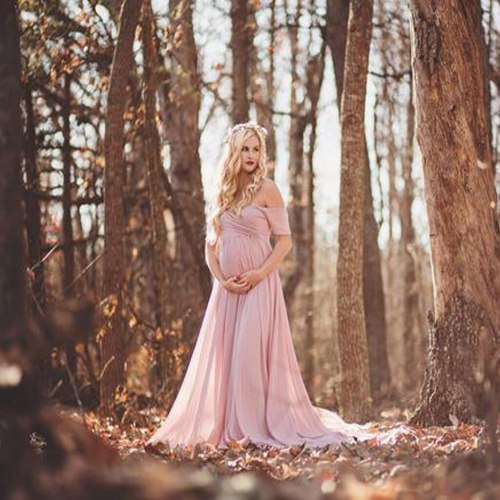 Maternity Long Dresses Women Pregnants Photography Props Off Shoulder Sleeveless Maternity Solid Dress