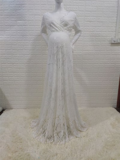 White Lace Maternity Photography Props Dresses Sexy Fancy Pregnancy Dress For Photo Shooting Long Pregnant Women Maxi Gown