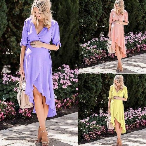 Ladies Fashion Maternity Solid Short Sleeve V-neck Pregnant Casual Elegant Photography Props Nursing Breastfeeding Dress