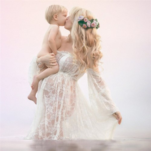 Women pregnant dress Sexy Off Shoulders Lace maternity dresses photography props dress