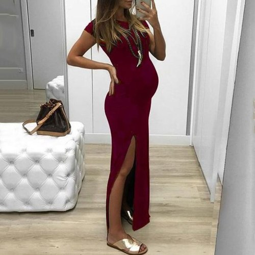 Bodycon Women Pregnancy Maternity Dress Solid Short Sleeve Open Fork Pregnancy Photography Dress