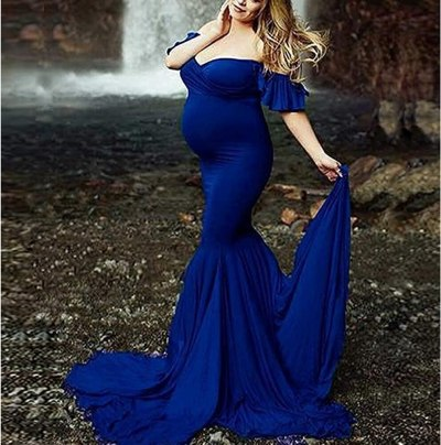 Maternity Maxi Gown Ruffle Cotton Dresses For Pregnant Women Sexy V Neck Short Sleeve Long Pregnancy Dress Photography Props