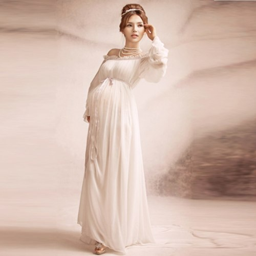 2021 New Elegant Off Shoulder Maternity Photography Dresses Women Pregnants Photography Maternity Long Sleeves Solid Long Dress