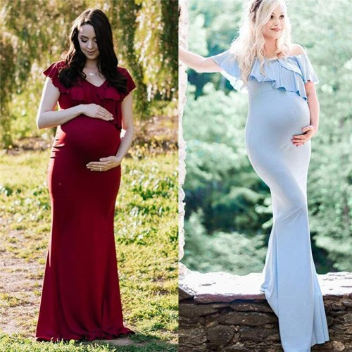 Women pregnant dress Short Sleeve Solid Ruffles maternity dresses photography props Shoulderless photoshoot dress