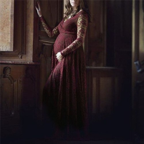 Women Pregnant Dresses Casual Solid Lace Party Maternity Dresses For Photo Shot Long Sleeve Dresses Photography Props